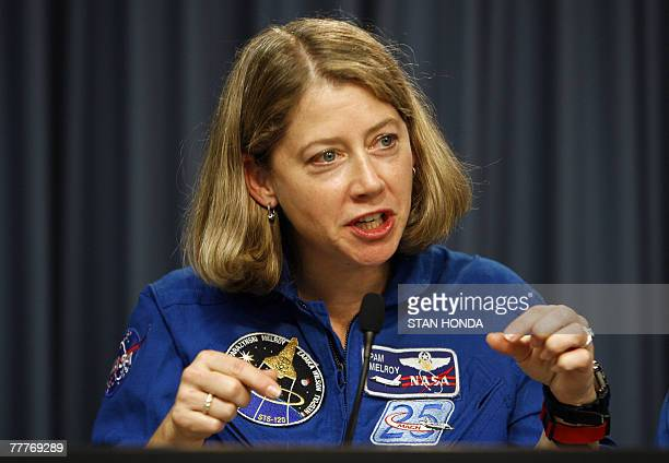 Space shuttle Discovery commander Pamela A Melroy speaks during press conference 07 November 2007 at Kennedy Space Center in Cape Canaveral Florida...
