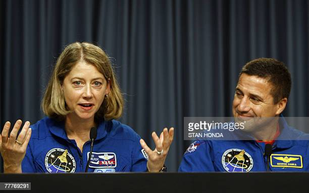 Space shuttle Discovery commander Pamela A Melroy speaks during press conference beside pilot George D Zamka 07 November 2007 at Kennedy Space Center...