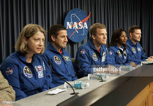 US space shuttle Discovery crew members takes questions during press conference 07 November 2007 at Kennedy Space Center in Cape Canaveral Florida...