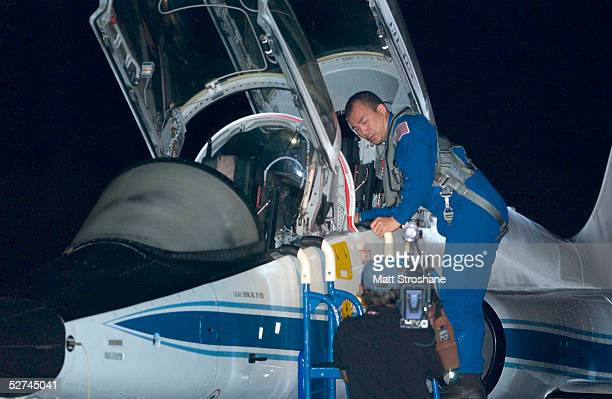 Space Shuttle Discovery mission specialist Soichi Noguchi exits his T38 aircraft at the Kennedy Space Center's Shuttle Landing Facility May 1 2005 in...