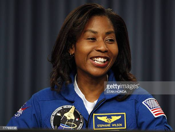 US Space shuttle Discovery mission specialist Stephanie D Wilson speaks during press conference 07 November 2007 at Kennedy Space Center in Cape...