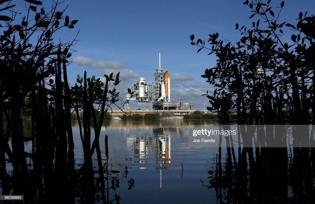 Space Shuttle Discovery sits on launch pad 39-A on April 4, 2010, at the Kennedy Space Center in Cape Canaveral, Florida. Discovery is being prepared for a April 5th launch for a mission to the International Space Station.