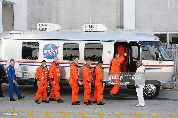 Space Shuttle Discovery STS119 commander Lee Archambault pilot Tony Antonelli and mission specialists Joseph Acaba Steve Swanson Richard Arnold John...