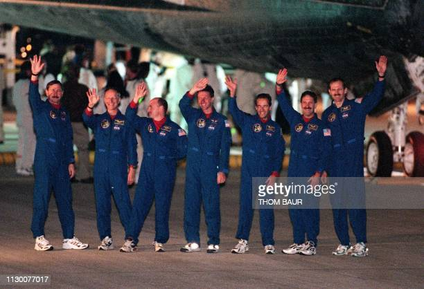Space Shuttle Discovery's crew US Commander Curt Brown Swiss Claude Nicollier US Pilot Scott Kelly US Michael Foale Frenchman JeanFrancois Clervoy US...