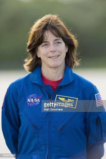 Space Shuttle Endeavour astronaut mission specialist and former teacher Barbara R Morgan address the media after arriving at the Kennedy Space...