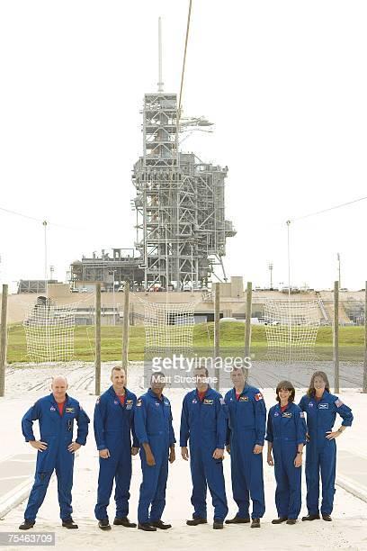 Space Shuttle Endeavour astronauts Commander Scott J Kelly Pilot Charles O Hobaugh mission specialists Alvin Drew Jr Richard A Mastracchio Canadian...
