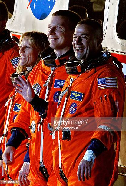 Space Shuttle Endeavour astronauts mission specialist Kathryn Hire pilot Terry Virts and Commander George Zamka prepare to travel out to launch pad...