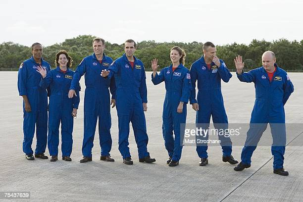 Space Shuttle Endeavour astronauts mission specialists Alvin Drew Jr former teacher Barbara R Morgan Canadian Space Agency's Dave Williams Richard A...