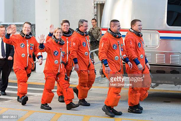 Space Shuttle Endeavour astronauts mission specialists Nicholas Patrick Kathryn Hire Robert Behnken and Stephen Robinson Commander George Zamka and...