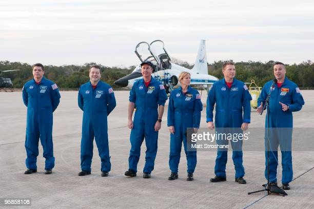Space Shuttle Endeavour astronauts mission specialists Robert Behnken Nicholas Patrick Stephen Robinson and Kathryn Hire pilot Terry Virts and...