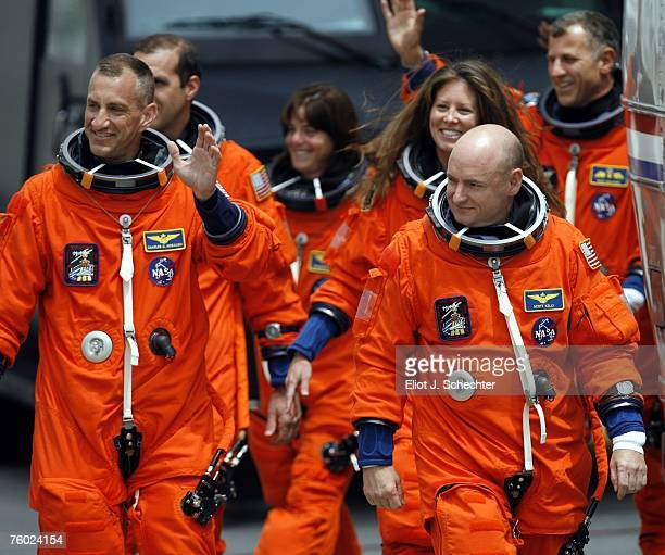 Space Shuttle Endeavour astronauts Pilot Charles O Hobaugh Commander Scott J Kelly mission specialists Richard A Mastracchio Tracy E Caldwell former...