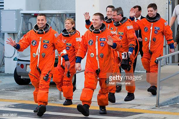 Space Shuttle Endeavour Commander George Zamka mission specialist Kathryn Hire pilot Terry Virts and mission specialists Nicholas Patrick Stephen...