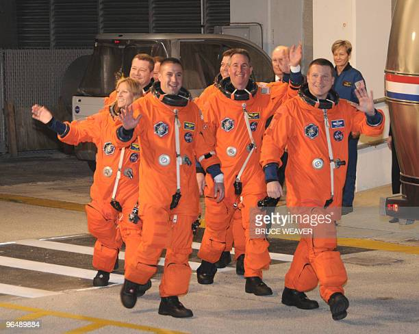 US space shuttle Endeavour crew members commander George Zamka pilot Terry Virts Kathryn Hire Stephen Robinson Nicholas Patrick and Robert Behnken...