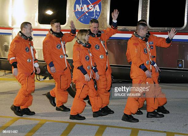 US space shuttle Endeavour crew members Nicholas Patrick Robert Behnken Kathryn Hire Stephen Robinson Commander George Zamka and Pilot Terry Virts...