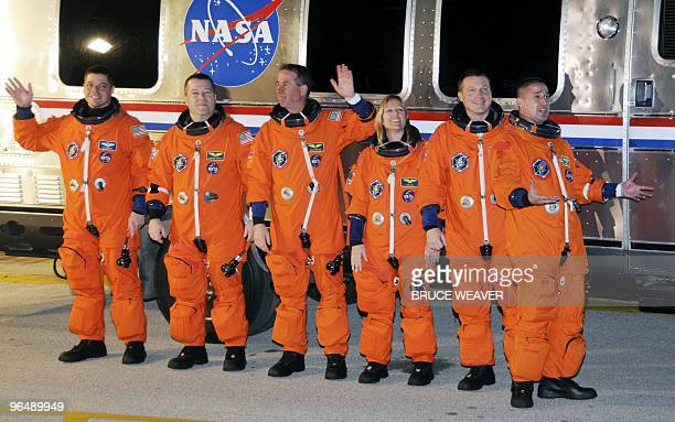 US space shuttle Endeavour crew members Robert Behnken Nicholas Patrick Stephen Robinson Kathryn Hire pilot Terry Virts and commander George Zamka...