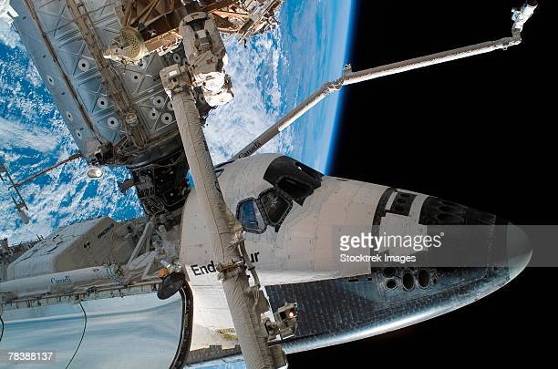Space Shuttle Endeavour docked to the International Space Station.