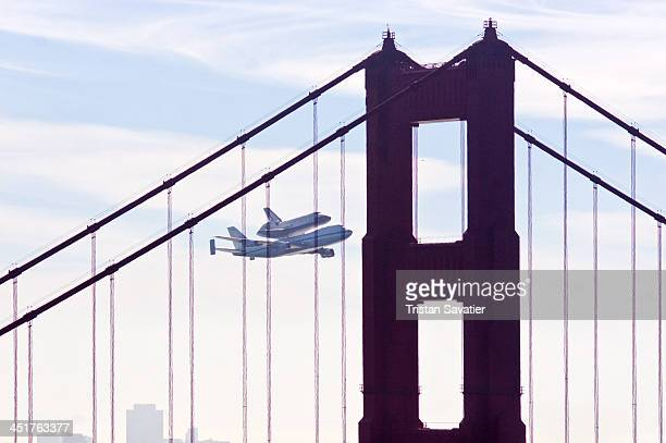 CONTENT] Space Shuttle Endeavour flies over San Francisco's Golden Gate Bridge for one last time Endeavour carried piggyback atop a modified Boeing...