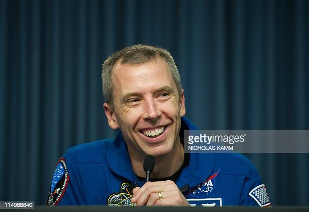US space shuttle Endeavour Mission Specialist Andrew Feustel speaks at a press conference at Kennedy Space Center in Florida on June 1 2011 Endeavour...