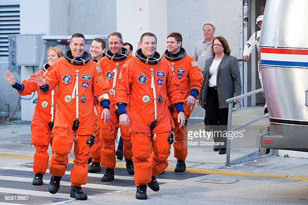 Space Shuttle Endeavour mission specialist Kathryn Hire Commander George Zamka mission specialists Nicholas Patrick and Stephen Robinson pilot Terry...
