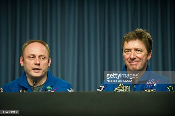 US space shuttle Endeavour Mission Specialist Michael Fincke and European Space Agency Mission Specialist Roberto Vittori of Italy speak at a press...