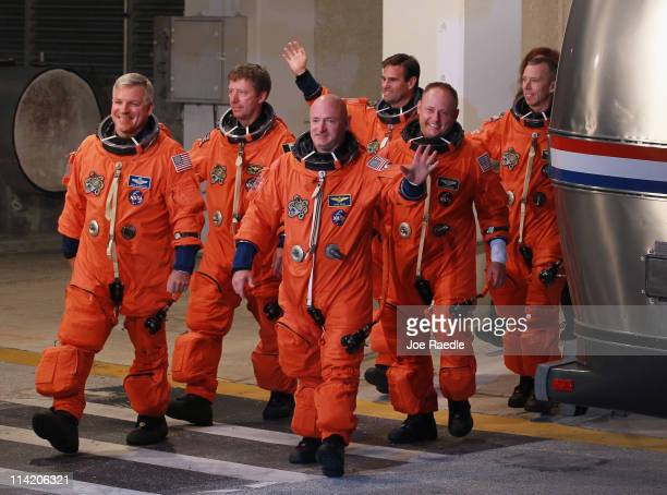 Space Shuttle Endeavour STS-134 crew Commander Mark Kelly, Pilot Greg H. Johnson, Mission Specialist Mike Fincke, Roberto Vittori, European Space...