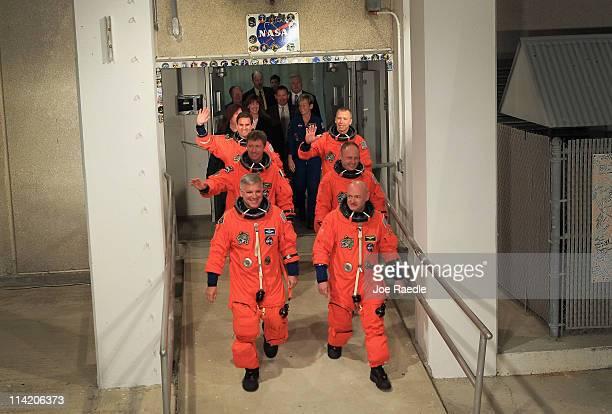 Space Shuttle Endeavour STS134 crew Commander Mark Kelly Pilot Greg H Johnson Mission Specialist Mike Fincke Roberto Vittori European Space Agency...