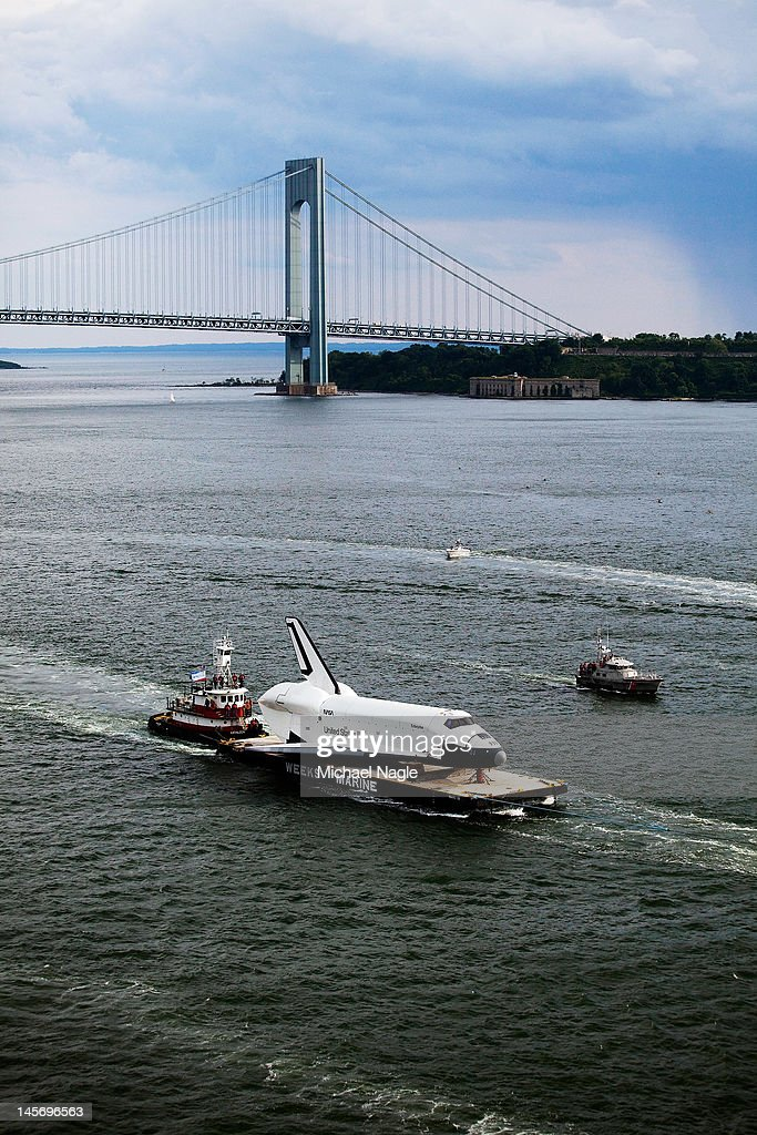 Space Shuttle Enterprise is carried by barge past the Verrazano-Narrows Bridge on June 03, 2012 in New York City. Enterprise is on it's way to the Intrepid Sea, Air and Space Museum, where it will put on permanent display.