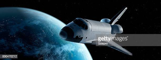 space shuttle in space, illustration - spaceship stock photos and pictures