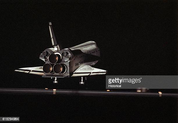 Space Shuttle Mission STS61 the first mission to service the Hubble Space Telescope comes to a flawless conclusion with a night landing on Runway 33...