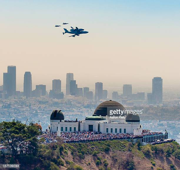 Space Shuttle on 747 Over Griffith Observatory