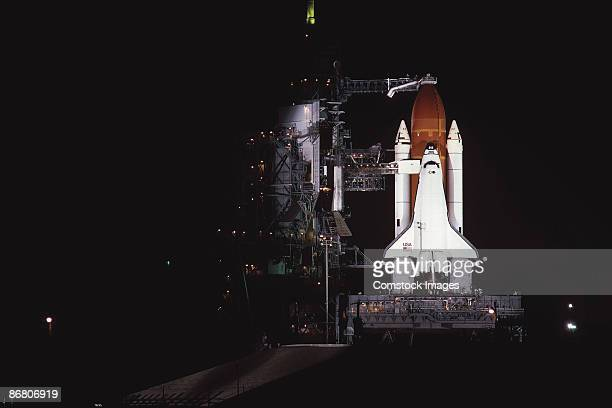 Space shuttle on launchpad