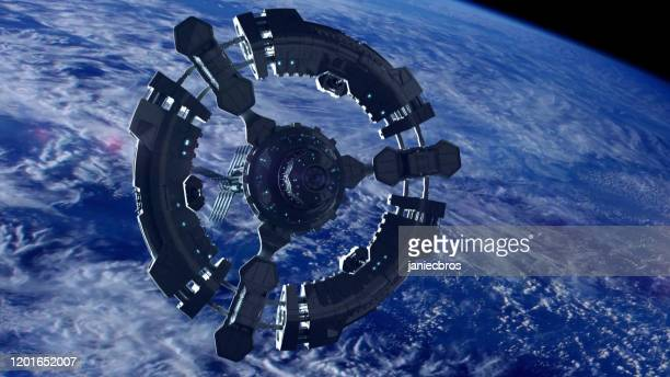 space station in planet earth orbit. space exploration. - international space station stock pictures, royalty-free photos & images