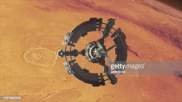 space station in planet mars orbit. space exploration. - international space station stock pictures, royalty-free photos & images