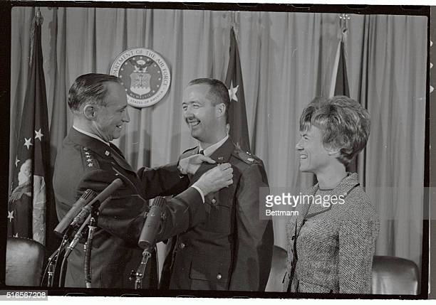 Space twins Edward H White and James McDivitt and Capt Joe H Engle x15 pilot are shown at the pentagon today after receiving their astronaut wings...