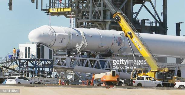A Space X Falcon9 rocket is readied for launch Friday Feb 17 2017 on launch pad 39A at Kennedy Space Center in Florida The launch scheduled for...