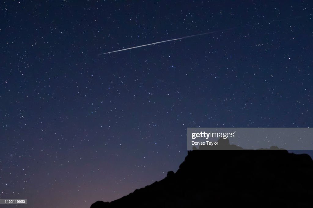 Space X starlink in the night sky : Stock Photo