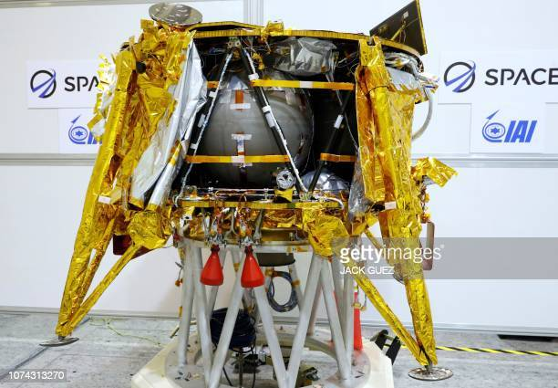 A spacecraft weighing some 585 kilogrammes is seen during a presentation by Israeli nonprofit SpaceIL and Israeli stateowned Aerospace Industries on...