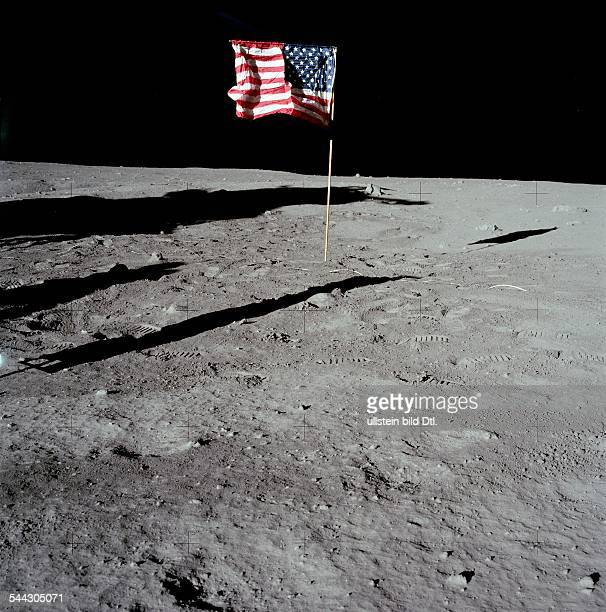 Spaceflight United States of America Moon landing of Apollo 11 in 1969 US Flag on moon soil July 20 1969