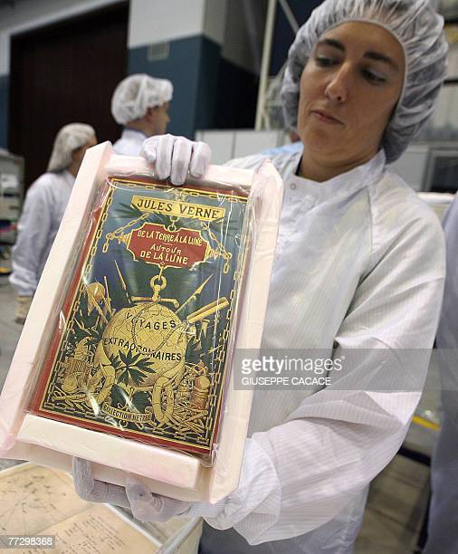 SpaceliteratureEuropeVerne by Boris Cambreleng A technician is packs Jules Verne's manuscript to go into space with the next mission at the Thales...