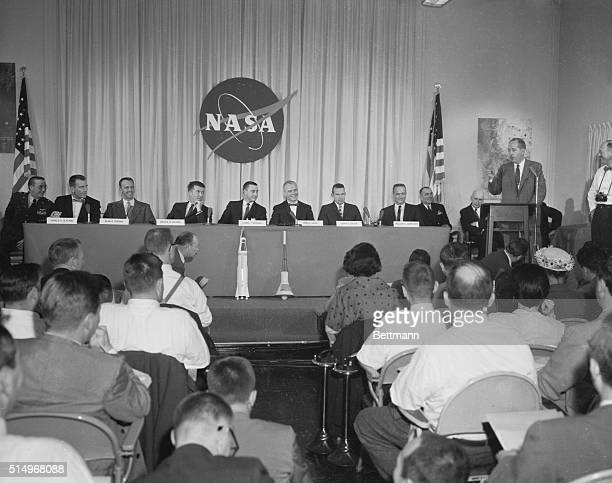 Spacemen's Press Conference Washington General view of the press conference today NASA at which the seven test pilots chosen to train for the honor...