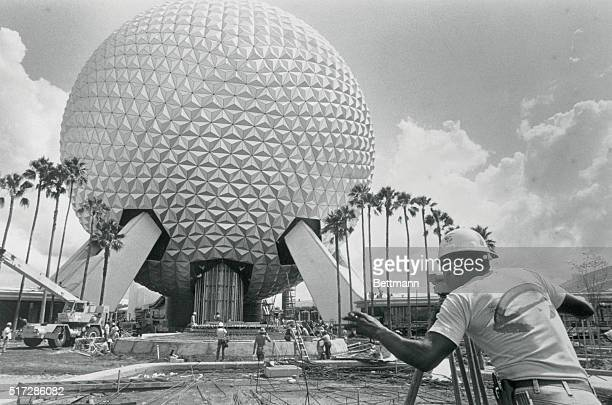 'Spaceship Earth' part of the Epcot Center that is Walt Disney's billiondollar dreamcometruerises above two of the nine World Showcase pavilions here...