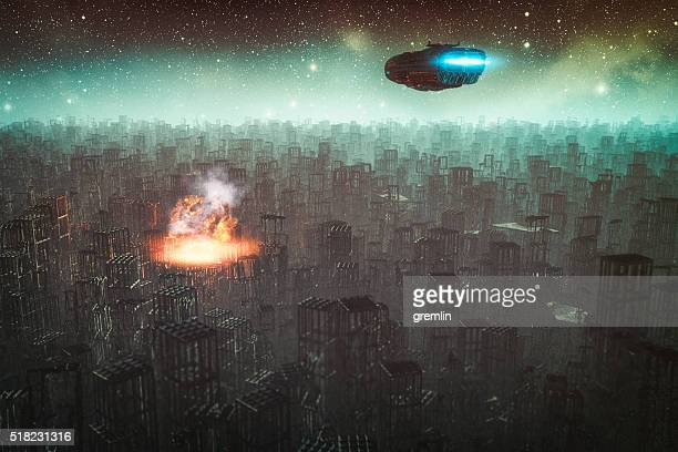 spaceship flying over destroyed city - spaceship stock photos and pictures
