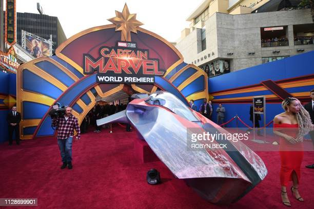 A spaceship sits on the red carpet as people attend the world premiere of Captain Marvel in Hollywood California on March 4 2019
