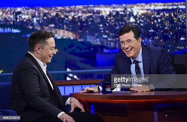 SpaceX and Tesla Motors CEO Elon Musk on The Late Show with Stephen Colbert Wednesday Sept 9 2015 on the CBS Television Network