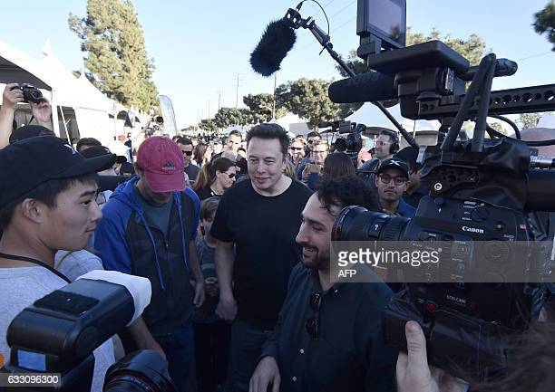 SpaceX CEO Elon Musk attends the SpaceX Hyperloop competition in Hawthorne California on January 29 2017 Students from 30 colleges and universities...