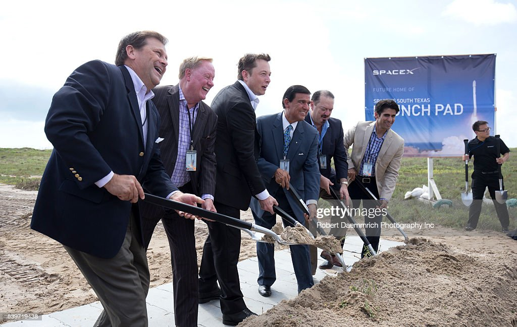 SpaceX CEO Elon Musk helps break ground on the Boca Chica ...