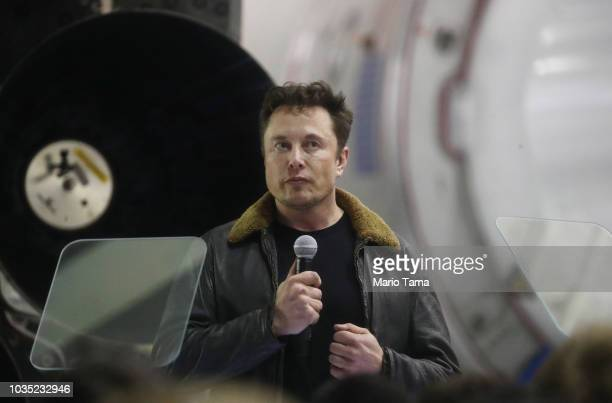 SpaceX CEO Elon Musk speaks at a press conference at SpaceX headquarters where he announced the Japanese billionaire chosen by the company to fly...