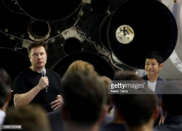 SpaceX CEO Elon Musk speaks on stage with Yusaka Maezawa the Japanese billionaire chosen by the company to fly around the moon as they sit at SpaceX...