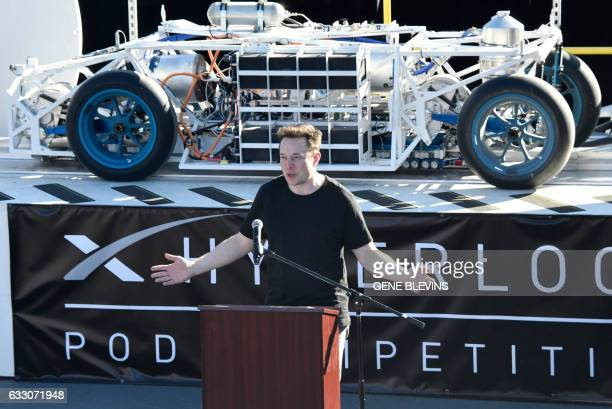 SpaceX CEO Elon Musk speaks to participants ahead of testing of their pods in the SpaceX Hyperloop competition in Hawthorne California on January 29...
