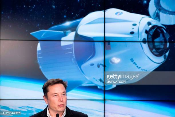 SpaceX chief Elon Musk speaks during a press conference after the launch of SpaceX Crew Dragon Demo mission at the Kennedy Space Center in Florida on...